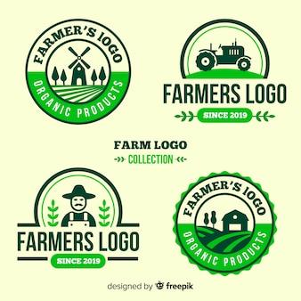 Colección de plantillas de logo de granja en diseño plano