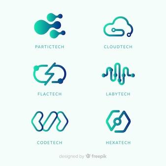 Colección de plantillas de logo de tecnología con degradado