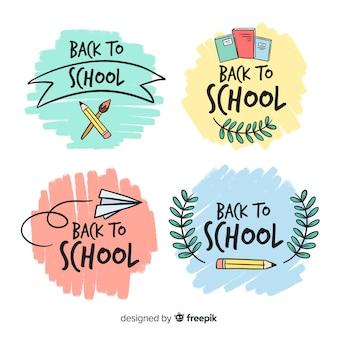 Colección de plantillas de logos de colegio dibujados a mano