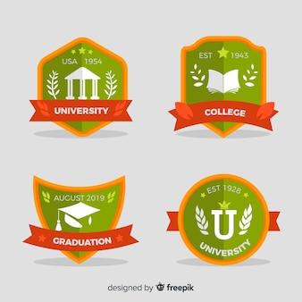 Colección de plantillas de logos de colegio en diseño plano