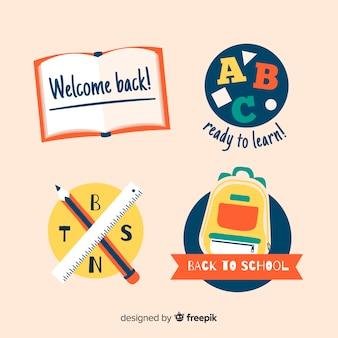 Colección de plantillas de logos de colegios en diseño plano