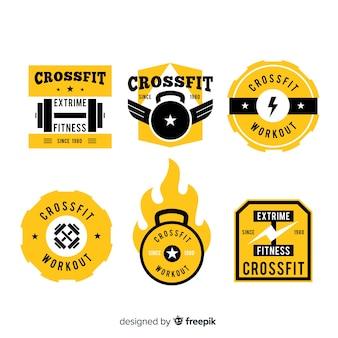 Colección de plantillas de logos de crossfit amarillos