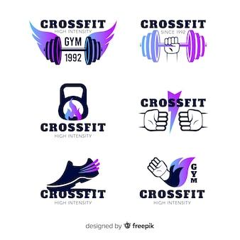 Colección de plantillas de logos de crossfit con degradado