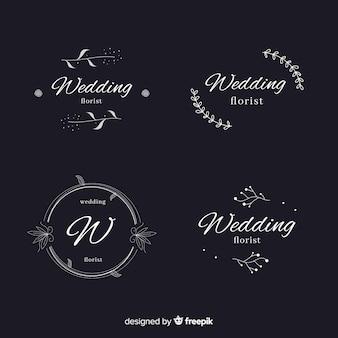 Colección de plantillas de logos florales de boda