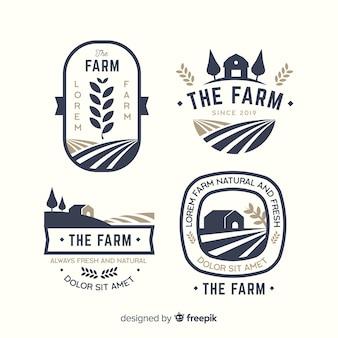 Colección de plantillas de logos de granja en diseño plano