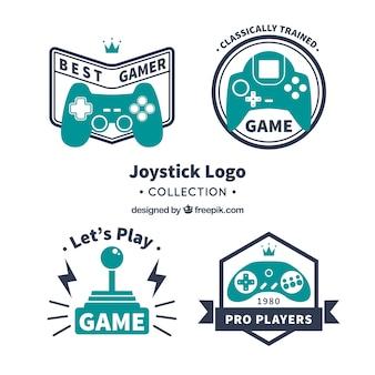 Colección de plantillas de logos de joysticks vintage
