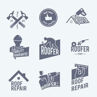 Colección de plantillas de logos de reparación de tejados