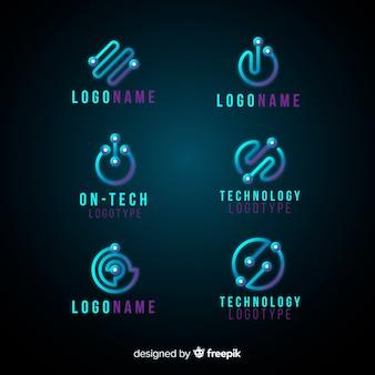 Colección de plantillas de logos de tecnología con degradado