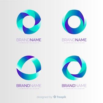 Colección de plantillas de logos de tecnología degradados