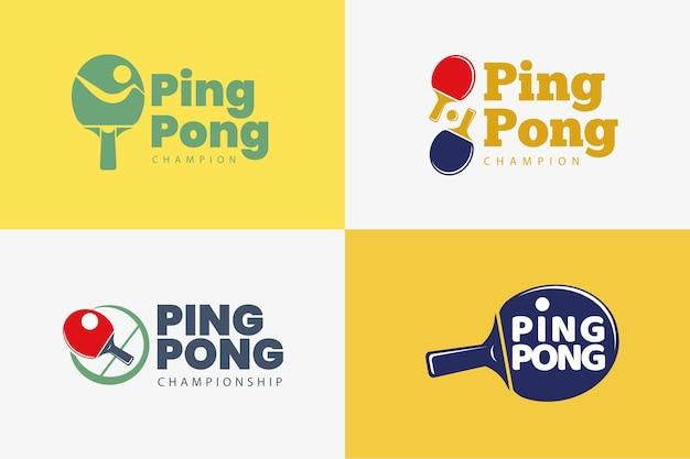 Colección de plantillas de logos de tenis de mesa