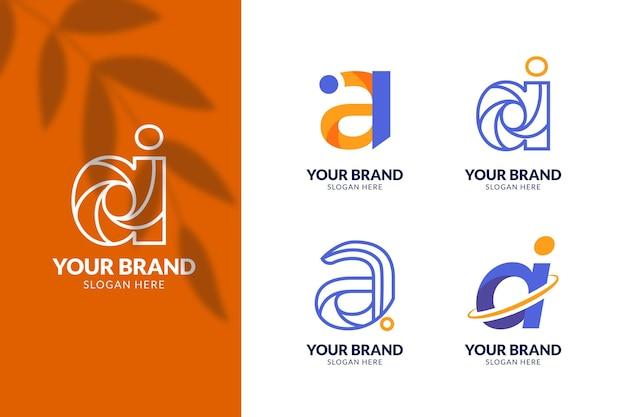Colección de plantillas de logotipo de ai de diseño plano