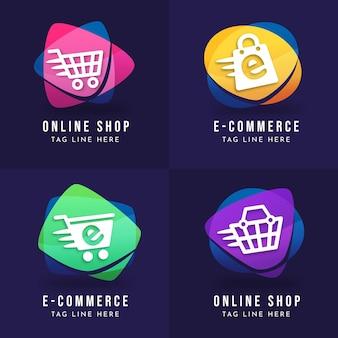 Colección de plantillas de logotipo de comercio electrónico degradado