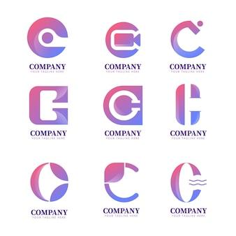 Colección de plantillas de logotipo degradado c