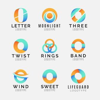 Colección de plantillas de logotipo degradado o
