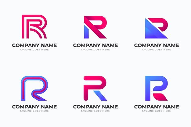 Colección de plantillas de logotipo degradado r vector gratuito