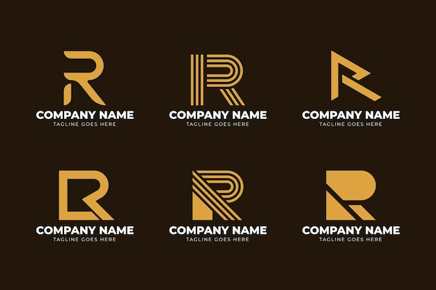 Colección de plantillas de logotipo de diseño plano r
