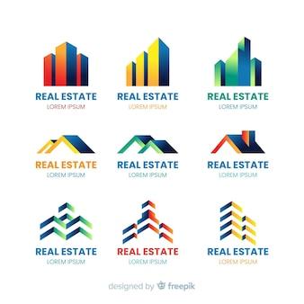 Colección de plantillas de logotipo de empresa inmobiliaria