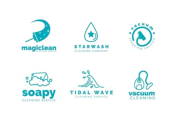 Colección de plantillas de logotipo de empresa de limpieza