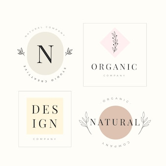 Colección de plantillas de logotipo empresarial natural en estilo minimalista