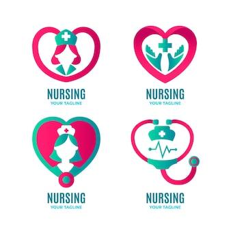 Colección de plantillas de logotipo de enfermera gradiente