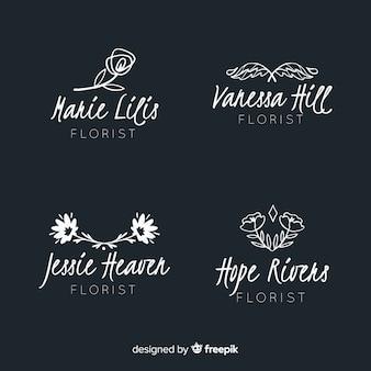 Colección de plantillas de logotipo de floristería de boda