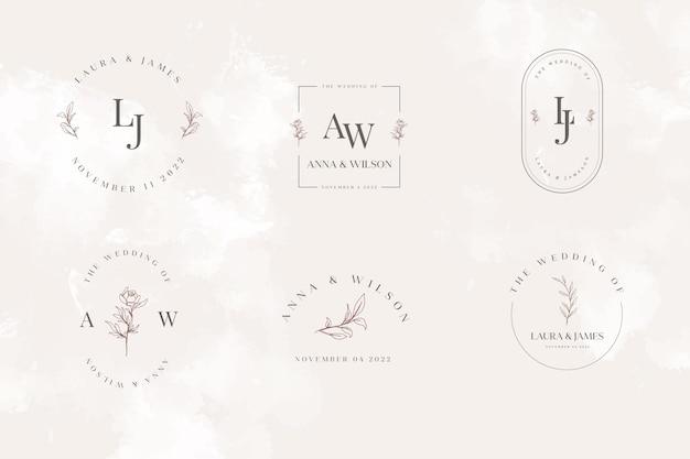 Colección de plantillas de logotipo de monograma de boda minimalista