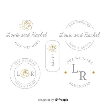Colección de plantillas de logotipo monograma de boda