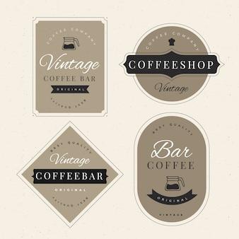Colección de plantillas de logotipo retro de cafetería