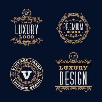 Colección de plantillas de logotipo retro de lujo