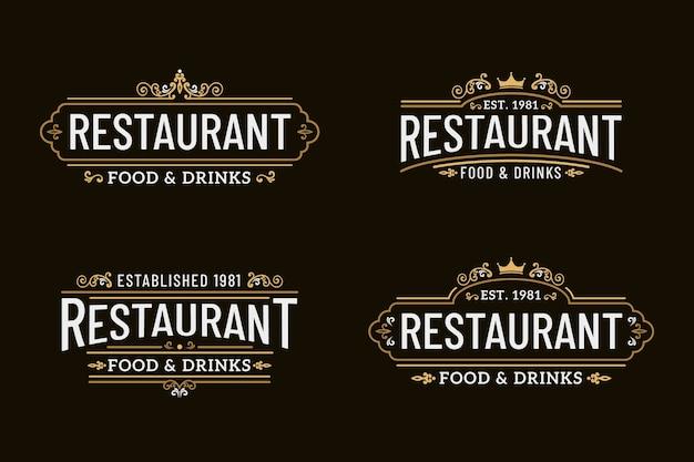 Colección de plantillas de logotipo retro de restaurante