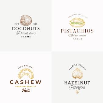 Colección de plantillas de logotipo, símbolo o signo de vector abstracto de nueces de calidad superior