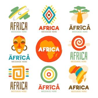 Colección de plantillas de logotipos de áfrica coloridos