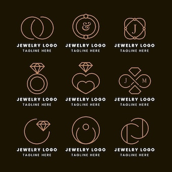 Colección de plantillas de logotipos de anillos planos