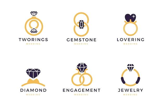 Colección de plantillas de logotipos de anillos planos vector gratuito