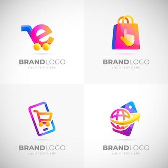 Colección de plantillas de logotipos de comercio electrónico degradados