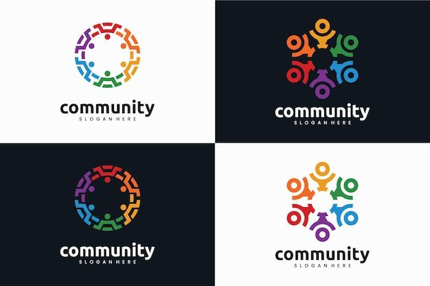 Colección de plantillas de logotipos de comunidades creativas