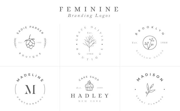 Colección de plantillas de logotipos. conjunto de logos. logotipos minimalistas. diseño de logotipo premade - vector