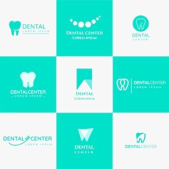 Colección de plantillas de logotipos dentales planos