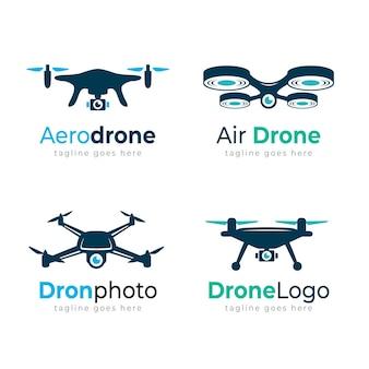 Colección de plantillas de logotipos de drones creativos