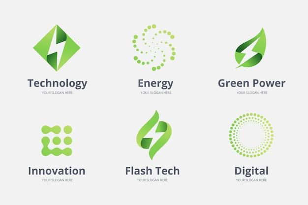 Colección de plantillas de logotipos de electrónica degradada