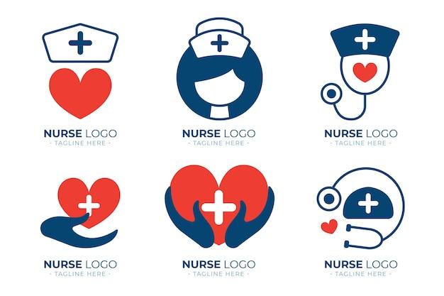 Colección de plantillas de logotipos de enfermeras de diseño plano