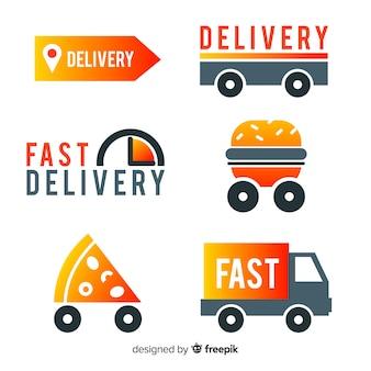 Colección de plantillas de logotipos de envíos de comida
