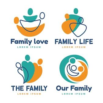 Colección de plantillas de logotipos familiares