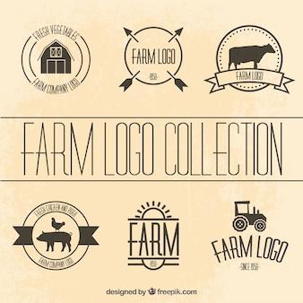 Colección de plantillas de logotipos de granja