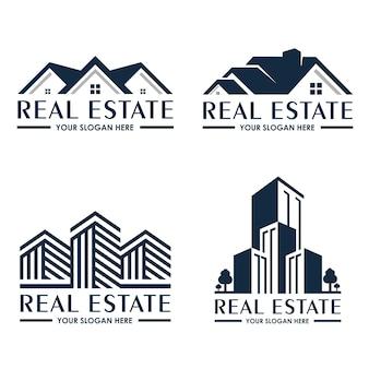 Colección de plantillas de logotipos inmobiliarios