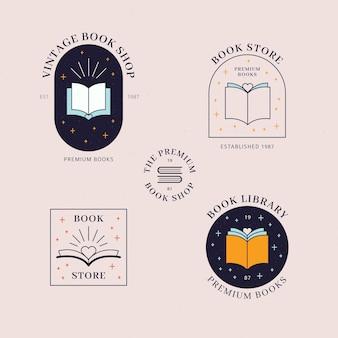 Colección de plantillas de logotipos de libros planos