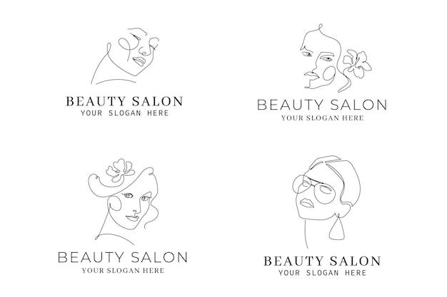 Colección de plantillas de logotipos de mujer dibujados a mano abstractos