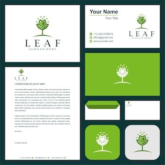 Colección de plantillas de logotipos de naturaleza premium