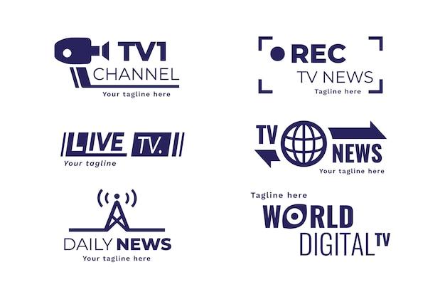 Colección de plantillas de logotipos de noticias creativas