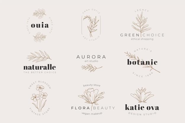 Colección de plantillas de logotipos de plantas a base de hierbas